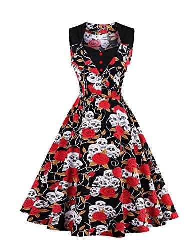 VKStar® Vintage Kleid Damen 50er 60er Stoffdruck Abendkleider Retro Polka Dots Tupfenkleid Sommerkleid Damen Rot