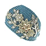 Boomly Damen Gestrickt Stirnband Wolle Haarband Diamant Blume Dekoration Haarschmuck Mode Herbst Winter Stirnband (Grün)