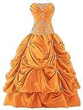 Zorayi Damen Trägerlos Lang Stickerei Taft Prom Ballkleid Formellen Abendkleider Orange Größe 46