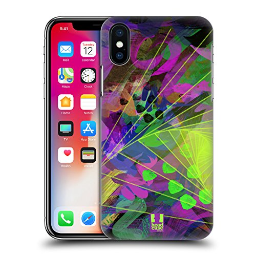 Head Case Designs Triangolo Colonna Neon Pattern Cover Retro Rigida per Apple iPhone X Triangolo Ripiegato