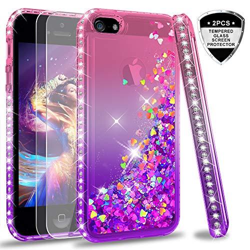 LeYi Hülle iPhone 5S / iPhone SE/iPhone 5 / iPhone SE 2 Glitzer Handyhülle mit Panzerglas Schutzfolie(2 Stück),Cover Diamond Bumper Schutzhülle für Case Handy Hüllen ZX Gradient Pink Purple