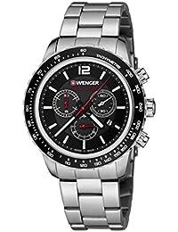 WENGER Unisex-Armbanduhr 01.0853.107 ROADSTER BLACK NIGHT CHRONO Analog Quarz Edelstahl 01.0853.107 ROADSTER BLACK NIGHT CHRONO