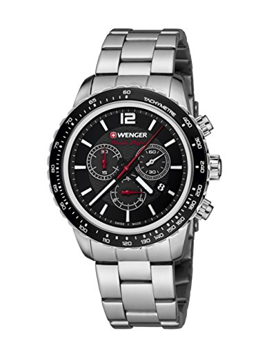 WENGER Unisex-Armbanduhr 01.0853.107 ROADSTER BLACK NIGHT CHRONO Analog Quarz Edelstahl 01.0853.107 ROADSTER BLACK NIGHT CHRONO