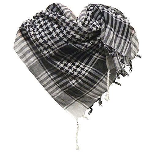 Pañuelo palestino negro-blanco a cuadros 100x100cm algodón árabe Palestina fular chal accesorio