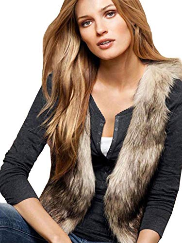 Ushiny Herbstfell-Weste, ärmellos, leicht, Kunstfell-Weste, Winterjacke, Mantel für Damen und Mädchen Gr. Medium, braun