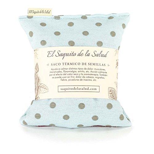 Saquito de la Salud Körnerkissen / Wärmekissen / Aromakissen, Lavendel, Orangenblüte oder Rosmarin, mit blauem Stoffbezug, gepunktet 23 cm