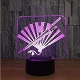 Ytdzsw Japan Samurai Schwert Fan 3D Nachtlicht Led Bunte Usb Tischlampe Führte Dekorative Lampe Innenleuchte Für Geschenk