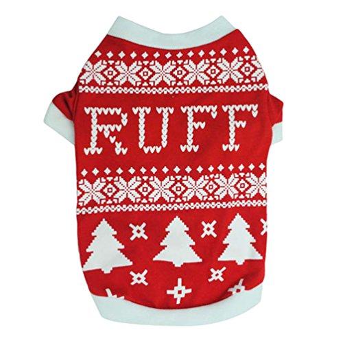 (YiJee Weihnachten Haustier Drucken T-Shirts Kostüm Welpe Hund Warm Sweatshirts Rot M)