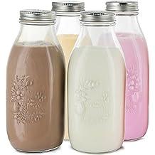 Estilo lácteos Reutilizable Botellas de Leche de Cristal con Tapa de Metal (Juego de 4