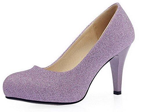 AllhqFashion Damen Rund Zehe Stiletto Lackleder Rein Ziehen Auf Pumps Schuhe Lila