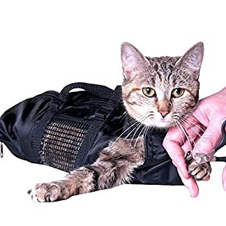 ASOCEA Cat Grooming Bag Pet Bathing Restraint Bag for Bathing Nail Trimming Injecting Fit Cats 10-15Lbs 51Q1Ku57nEL