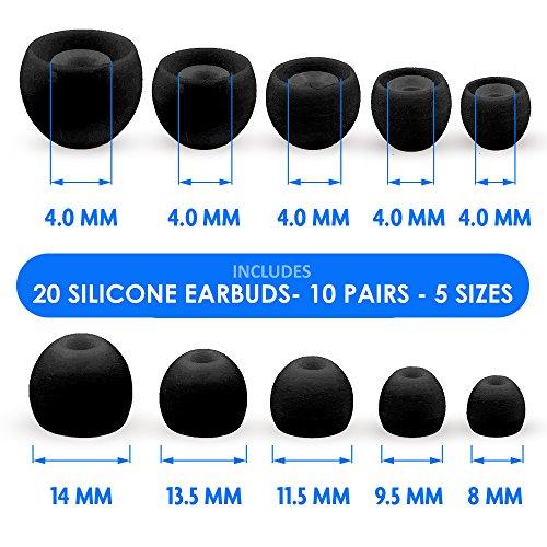 MMOBIEL 10 Paar Silikon Ohrstöpsel Ear Buds Set für Diverse Kopfhörer (Schwarz) - 4