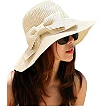 TININNA Bohemia Verano Sun Floppy Mujer Sombrero de la Playa de la Paja del Borde Grande Ancho Cap Moda de Viajes Vacaciones De Ala Ancha Sombrero Grande Gorro Para Muchacha Beige