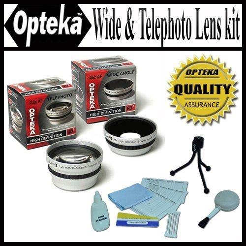 Opteka 0.45x Wide Angle & 2.2x Telephoto Hda Pro Lens Set For Panasonic Lumix Dmc-fz20 Digital Camera