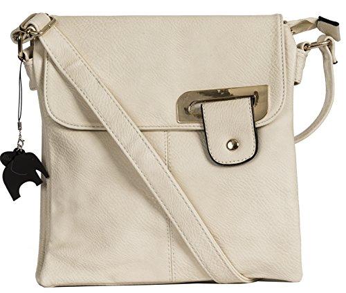Big Handbag Shop Damen Medium trendige Messengertasche, Umhängetasche mit einer Markenschutz-Aufbewahrungstasche und Anhänger, Elfenbein - Gold Trim - Cream - Größe: Medium (Messenger Trim)