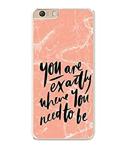PrintVisa You Are Exactly Where You Need To Be High Gloss Designer Back Case Cover for Micromax Canvas Knight 2 E471