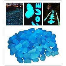 Stillcool -100 Piezas Guijarro Piedra Fluorescentes Luminoso decorativa brilla en la oscuridad Pebbles adoquines luminoso para decoración de acuario Fish Tank Grava entrada caminos y jardín decoración