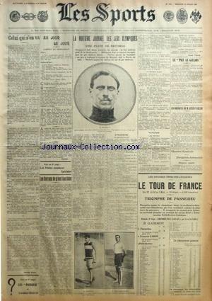 SPORTS (LES) du 22/07/1908 - LES JEUX OLYMPIQUES DE LONDRES - LE TOUR DE FRANCE - LES DARRACQ DE GRAND TOURISME - LES OBSEQUES DE RENE PANHARD par Collectif