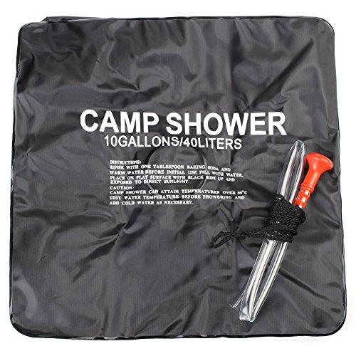 Wasser-pumpe Tragbare Gas (candora 40L/10Liter Camping Wandern Solar Heizung Camp Outdoor Dusche Tasche Tragbares Solar beheizt Rohr Outdoor Dusche Wasser Tasche Solar Wasser Heizung)