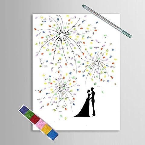Wedding Guestbook Beautiful Fireworks Sweet Lovers 11.8''x15.7 '' (Albero Di Fuoco)