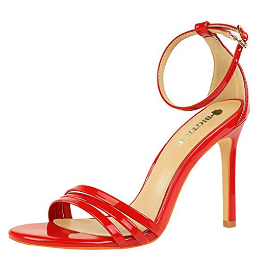 Oasap Women's Open Toe Buckle Strap Stiletto Gladiator Sandals Red