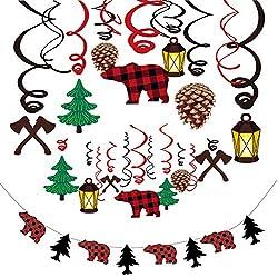 Howaf 30 Stücke Holzfäller Hängedekoration Geburtstag Deckenhänger Spiral Girlanden und Holzfäller Banner für Kinderparty Junge und Mädchen Kindergeburtstag deko