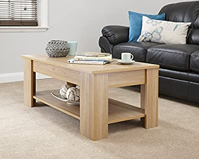 Modern Contemporary Exclusive Oak Lift Up Coffee Table Living Room Centre Table Large Storage Area & Under Shelf - low-cost UK light store.