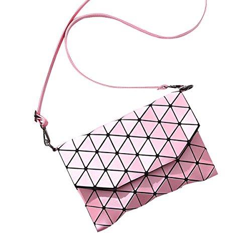 Lock Diamantgitter Schick Umhängetasche Lederhandtaschen Shopper-Handtasche Pink
