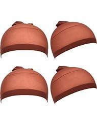 Nylon Bouchons Perruque Filet Cheveux Bonnets Extensibles, Marron Foncé, 4 Pièces