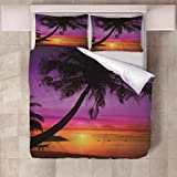 JFBedding Bettwäsche 135x200cm Strand Sonnenuntergang Bettbezüge mit Kopfkissen Bettwäsche-Set 3teilig Flauschig Microfaser Reißverschluss Atmungsaktiv Schlafkomfo
