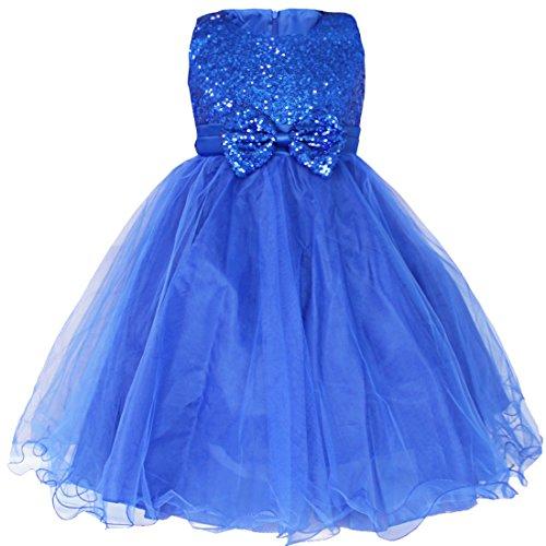 iEFiEL Mädchen festlich Kleid Hochzeit Festkleid mit Pailletten für Kinder Prinzessin Kleid Kostüm Partykleid 92-164 Blau (Kostüme Blaue Pailletten Prinzessin)