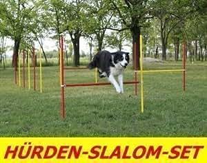 Obstacles d'entraînement agility kit de barres de slalom en rouge/jaune