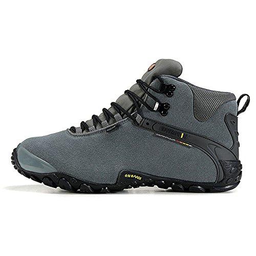 Onemix Mujeres Zapatos De Fútbol Cómodo Cálido Botines Cálidos Invierno Botas De Nieve Impermeables Senderismo Senderismo Botas Gris Negro
