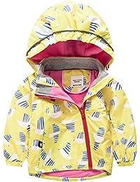 Hzjundasi Niños Chicas Bebé Toddler Invierno/Otoño Manga larga Encapuchado abrigo impermeable Loveble Colorful Impresión