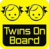 #8: isee360 Baby On Board, Background Yellow, Twins, Windows, Car Sticker