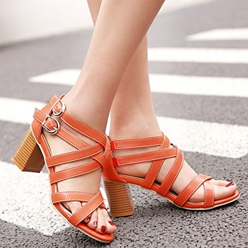 TAOFFEN Damen Elegant Criss Cross Double Schnalle Sandalen Blockabsatz Mid Heel Shoes Orange