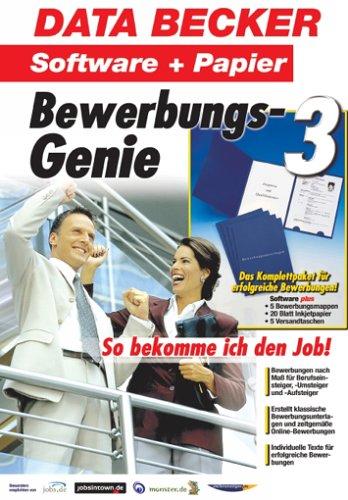 Bewerbungs-Genie 3, m. Papier, Mappen u. Versandtaschen, CD-ROM Für Windows 98, 98SE, ME, NT4, 2000, XP -