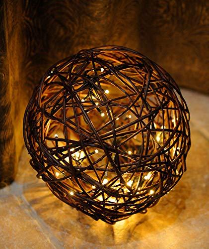 Floranica® Beleuchtete Weidenkugel mit 20/50/100 für den Inennbereich batteriebetriebenen LED Leuchten Dekokugel aus Weide Weidenball Rebenkugel in 5 verschiedenen Größen, Durchmesser:40cm - Beleuchtete Weiden