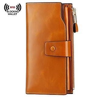 S-ZONE Women's RFID Noble Blocking Elegant Wallet Large Capacity Luxury Wax Genuine Leather Wallet Purse with Zipper Pocket (Gift Box)