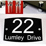 House Number Sign / Plaque Black Acrylic Curve