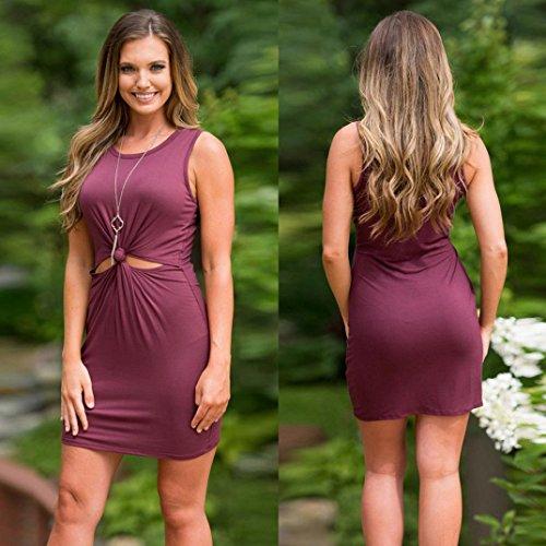 Sannysis Damen Sommer Weste Mini Kleider Lila