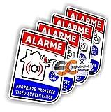 Sticker Alarme Vidéo-Surveillance Autocollant (Lot de 4 Stickers) (Modèle 3 (Lot de 4 Stickers))