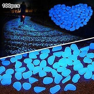 Amagabeli 100PCS Glow in the Dark Garden Pebbles Stone for Walkway Yard and Decor