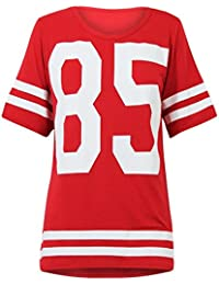 TRENDY-CLOTHINGS T-SHIRT DE FOOTBALL AMÉRICAIN STYLE UNIVERSITAIRE IMPRIMÉ 85 T-SHIRT EN JERSEY ROUGE