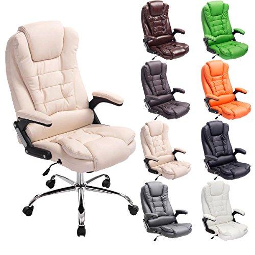 CLP Chefsessel THOR, Bürostuhl mit Armlehnen, höhenverstellbar 49 - 59 cm creme