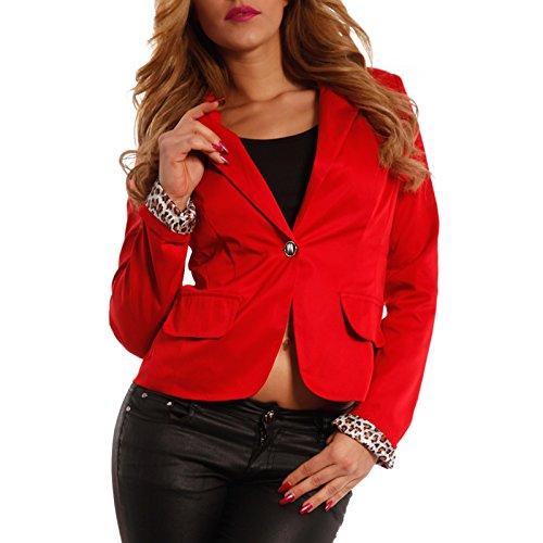 Young-Fashion Damen Blazer Sportlich eleganter Kurzblazer Leoparden Muster, Farbe:Rot;Größe:38