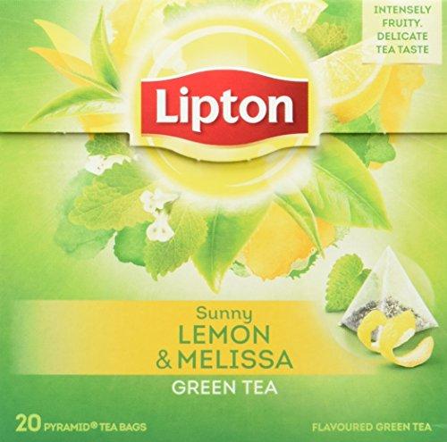 Lipton Grüner Tee Zitrone Melisse Pyramidenbeutel 20 Stück, 3er Pack