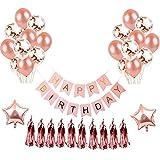 Topeedy Set di palloncini di compleanno di palloncino Set di palloncini di coriandoli di 7 pezzi, palloncino in oro rosa da 7 pezzi, palloncini in stagnola di 2 pezzi, 1 banner di buon compleanno e 10 pezzi di canutiglia metallizzata per feste