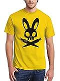clothinx Herren T-Shirt Ostern Bad Bunny Gelb/Schwarz Größe XXL