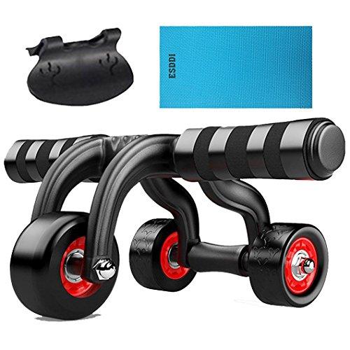 Maxkare Bauchtrainer Bauchroller mit 3 Ab Roller inkl. Stopper und Schutzmatte Zuhause, Schwarz